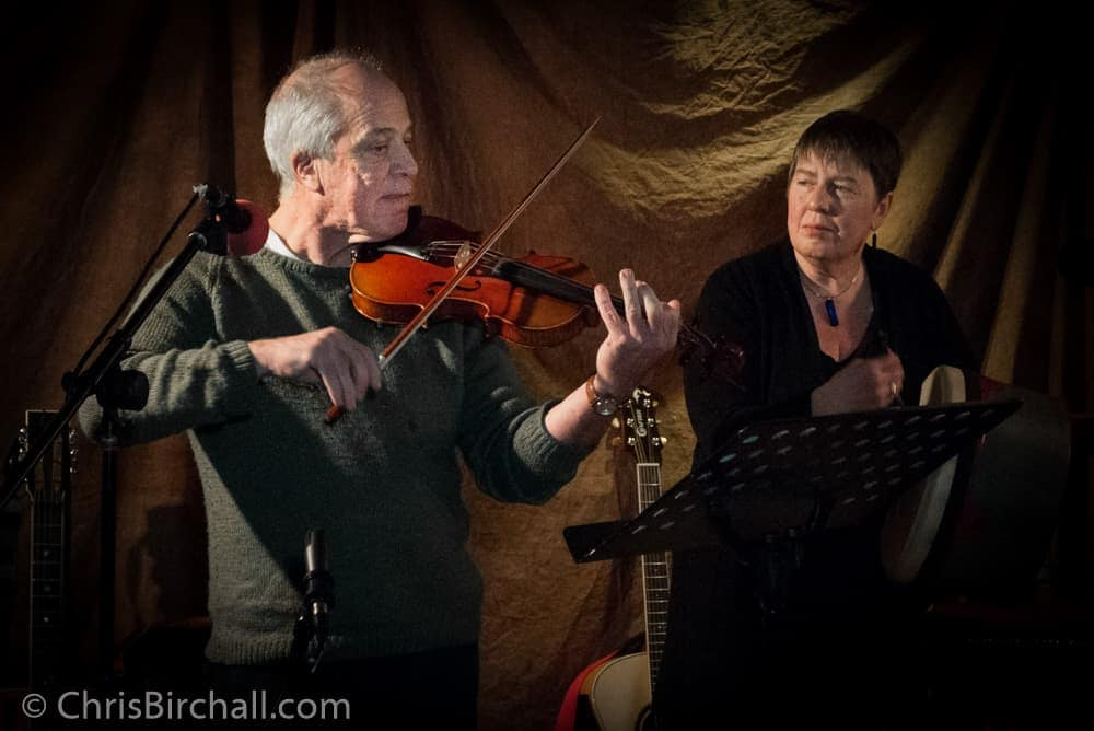 Jim on the fiddle accompanied by Linne